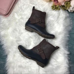 NWOB Sperry Fur Lined Navy Duck Rain Boot Size 5